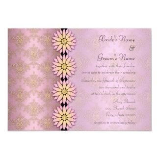 Invitaciones florales del boda del damasco del invitación 12,7 x 17,8 cm