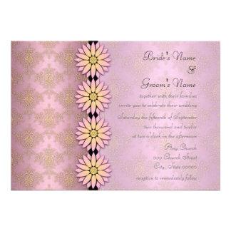 Invitaciones florales del boda del damasco del ros
