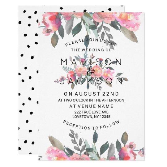 Invitaciones florales del boda del Peony elegante Invitación 12,7 X 17,8 Cm