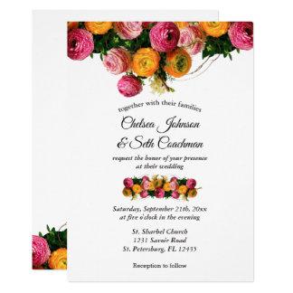 Invitaciones florales del boda del rosa y del