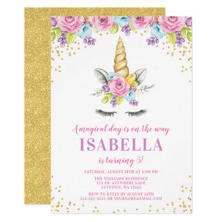 Invitaciones florales del cumpleaños del unicornio