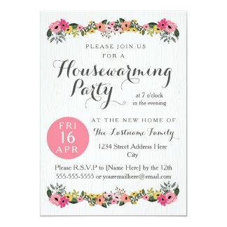 Invitaciones florales del fiesta del estreno de invitación 12,7 x 17,8 cm