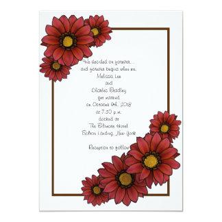 Invitaciones florales marrón del boda con Brown Invitación 12,7 X 17,8 Cm
