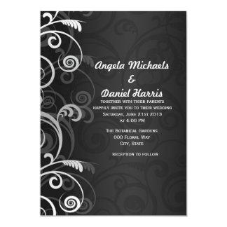 Invitaciones florales modernas blancos y negros invitación 12,7 x 17,8 cm