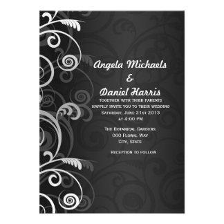 Invitaciones florales modernas blancos y negros de