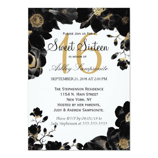 Invitaciones florales negras acentuadas de oro del invitación 12,7 x 17,8 cm