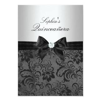 Invitaciones florales negras de Quinceanera del Invitación 12,7 X 17,8 Cm