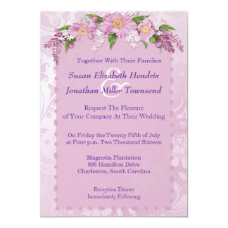 Invitaciones florales púrpuras del boda invitación 12,7 x 17,8 cm