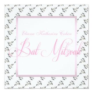 Invitaciones florales rosadas blancas de Mitzvah