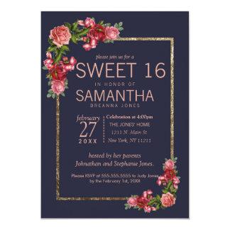 Invitaciones florales rosadas del dulce 16 del oro