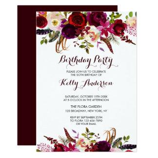 Invitaciones florales rústicas de la fiesta de