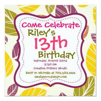 Invitaciones florales verdes púrpuras de la fiesta invitación 13,3 cm x 13,3cm