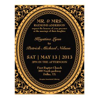 Invitaciones fluorescentes de neón anaranjadas del invitacion personal