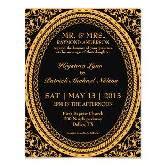 Invitaciones fluorescentes/de neón anaranjadas del invitación 10,8 x 13,9 cm