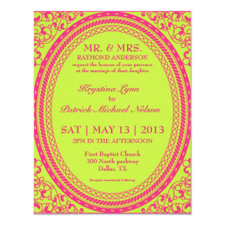 Invitaciones fluorescentes/de neón barrocas del invitación 10,8 x 13,9 cm