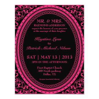 Invitaciones fluorescentes/de neón rosadas de invitación 10,8 x 13,9 cm