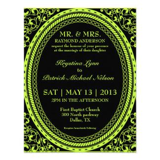 Invitaciones fluorescentes de neón verdes del boda anuncio personalizado