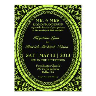 Invitaciones fluorescentes/de neón verdes del boda invitación 10,8 x 13,9 cm