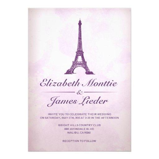 Invitaciones formales del boda de la torre Eiffel Comunicados