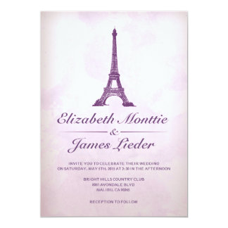 Invitaciones formales del boda de la torre Eiffel Invitación 12,7 X 17,8 Cm