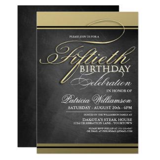 Invitaciones formales del cumpleaños del oro 50.as invitación 12,7 x 17,8 cm