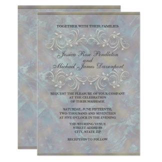 Invitaciones formales veteadas elegantes del boda