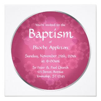 Invitaciones fucsias del bautismo de la filigrana invitación 13,3 cm x 13,3cm