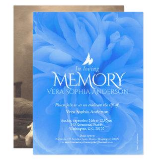 Invitaciones fúnebres color de rosa azules de la invitación 10,8 x 13,9 cm