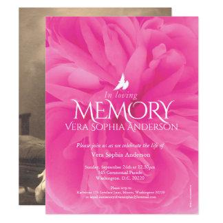 Invitaciones fúnebres color de rosa rosadas de la invitación 10,8 x 13,9 cm