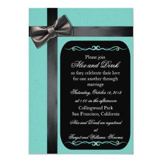 Invitaciones gay azules y negras del huevo del invitación 12,7 x 17,8 cm