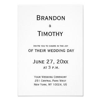 Invitaciones gay blancos y negros del boda invitación 12,7 x 17,8 cm
