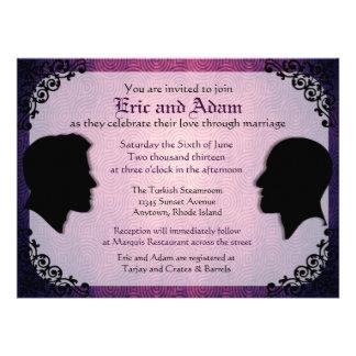 Invitaciones gay de encargo del boda de los marido invitaciones personales