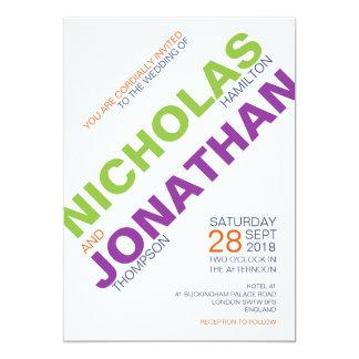 Invitaciones gay del boda de la tipografía del invitación 12,7 x 17,8 cm