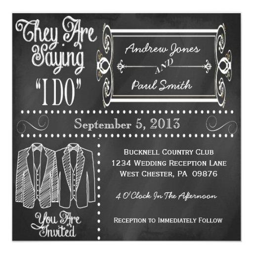 Invitaciones gay del boda del smoking de la pizarr comunicados personalizados