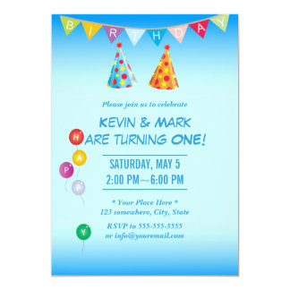 Invitaciones gemelas azules con clase de la fiesta invitación 12,7 x 17,8 cm