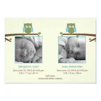 Invitaciones gemelas del nacimiento de los búhos invitación 12,7 x 17,8 cm