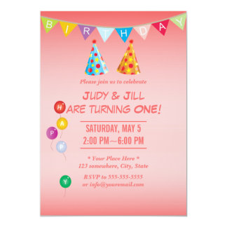 Invitaciones gemelas rosadas coralinas de la invitación 12,7 x 17,8 cm