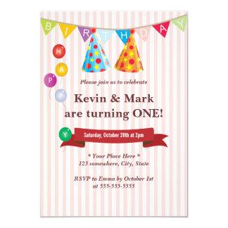 Invitaciones gemelas rosadas lindas de la fiesta invitación 12,7 x 17,8 cm