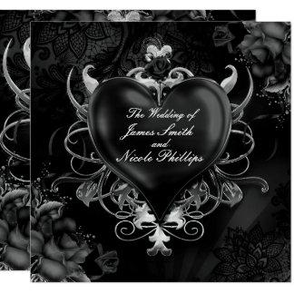 Invitaciones góticas negras del boda del corazón