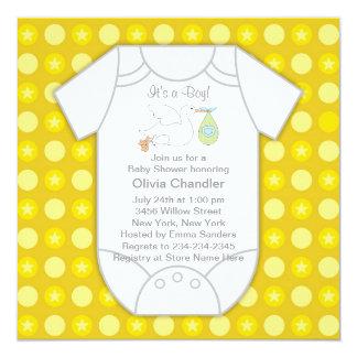 Invitaciones grises amarillas de la ducha del bebé invitación 13,3 cm x 13,3cm