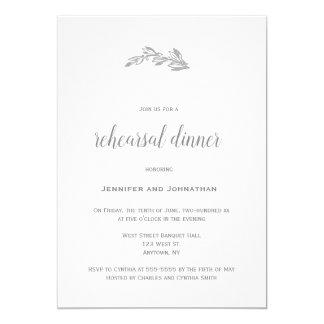 Invitaciones grises de la cena del ensayo de la