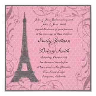 Invitaciones grises del boda del rosa en colores invitación 13,3 cm x 13,3cm