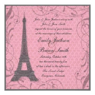 Invitaciones grises del boda del rosa en colores p