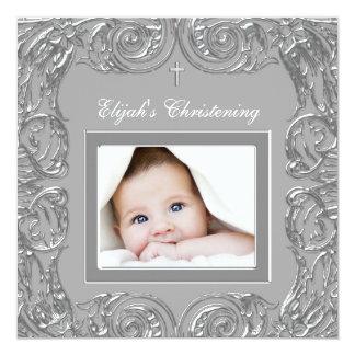 Invitaciones grises elegantes del bautizo de la invitación 13,3 cm x 13,3cm