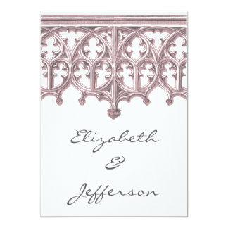Invitaciones grises y rosadas del boda de la invitación 12,7 x 17,8 cm