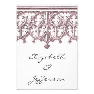 Invitaciones grises y rosadas del boda de la cated