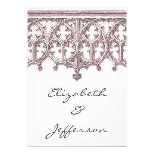 Invitaciones grises y rosadas del boda de la cated comunicado