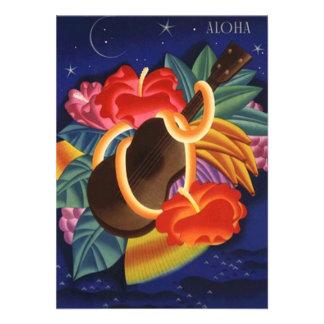 Invitaciones hawaianas de Luau de la hawaiana del Anuncios Personalizados