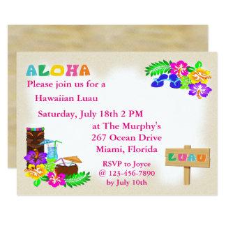 Invitaciones hawaianas de Luau Invitación 12,7 X 17,8 Cm