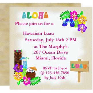 Invitaciones hawaianas de Luau Invitación 13,3 Cm X 13,3cm